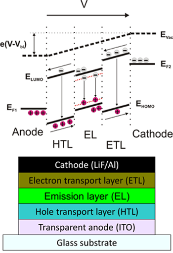 schematic structure of a typical OLED